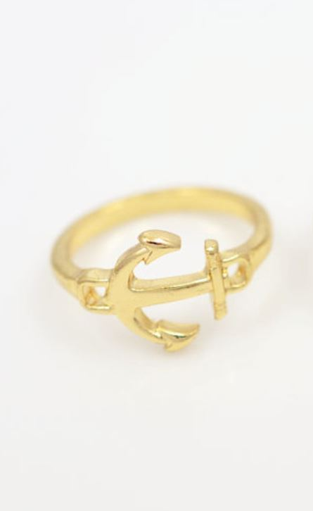 Anchor Ring - Gold - Trinket Square