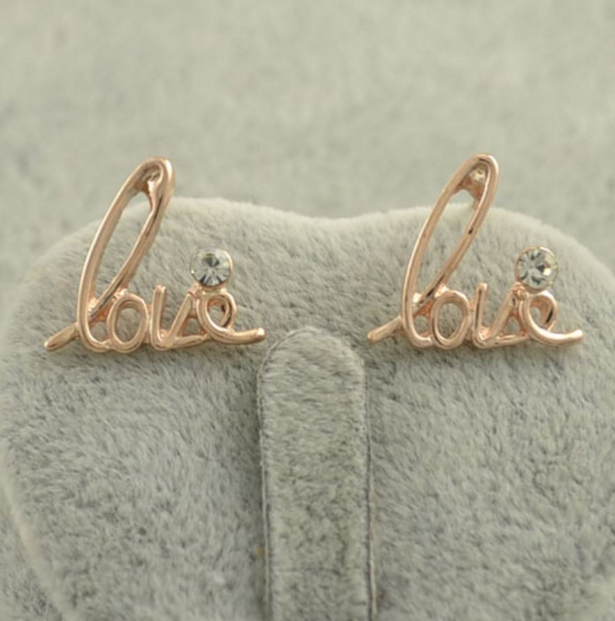 Love Stud Earrings Trinket Square